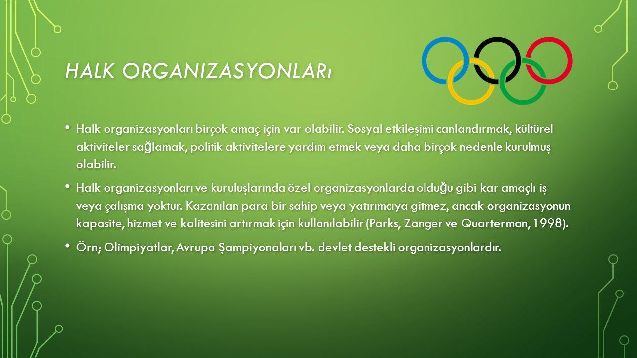 HALK ORGANIZASYONLARı Halk organizasyonları birçok amaç için var olabilir.