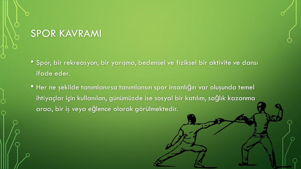 SPOR KAVRAMI Spor, bir rekreasyon, bir yarışma, bedensel ve fiziksel bir aktivite ve dansı ifade eder.