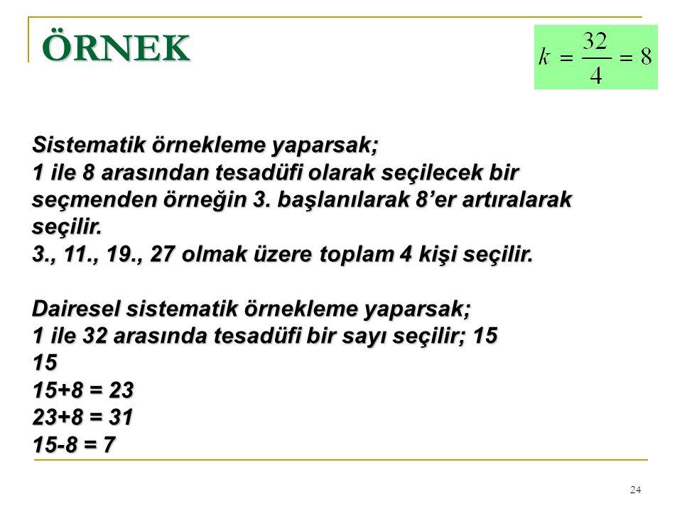 24 ÖRNEK Sistematik örnekleme yaparsak; 1 ile 8 arasından tesadüfi olarak seçilecek bir seçmenden örneğin 3.