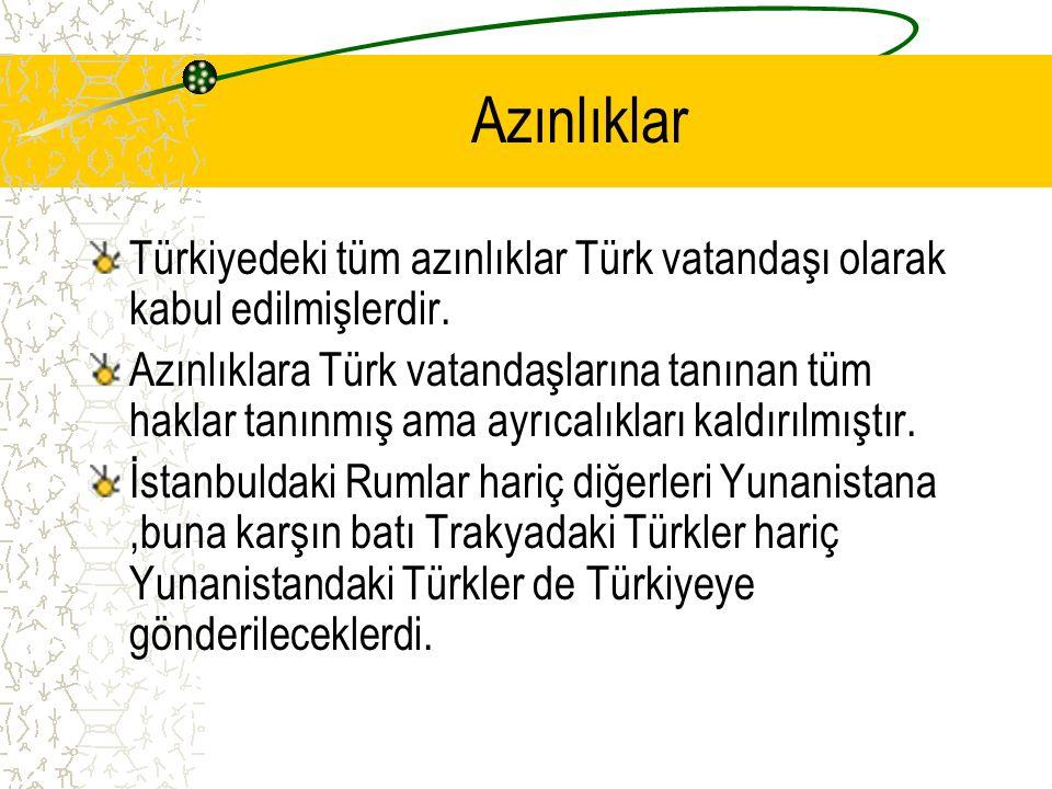 Azınlıklar Türkiyedeki tüm azınlıklar Türk vatandaşı olarak kabul edilmişlerdir. Azınlıklara Türk vatandaşlarına tanınan tüm haklar tanınmış ama ayrıc