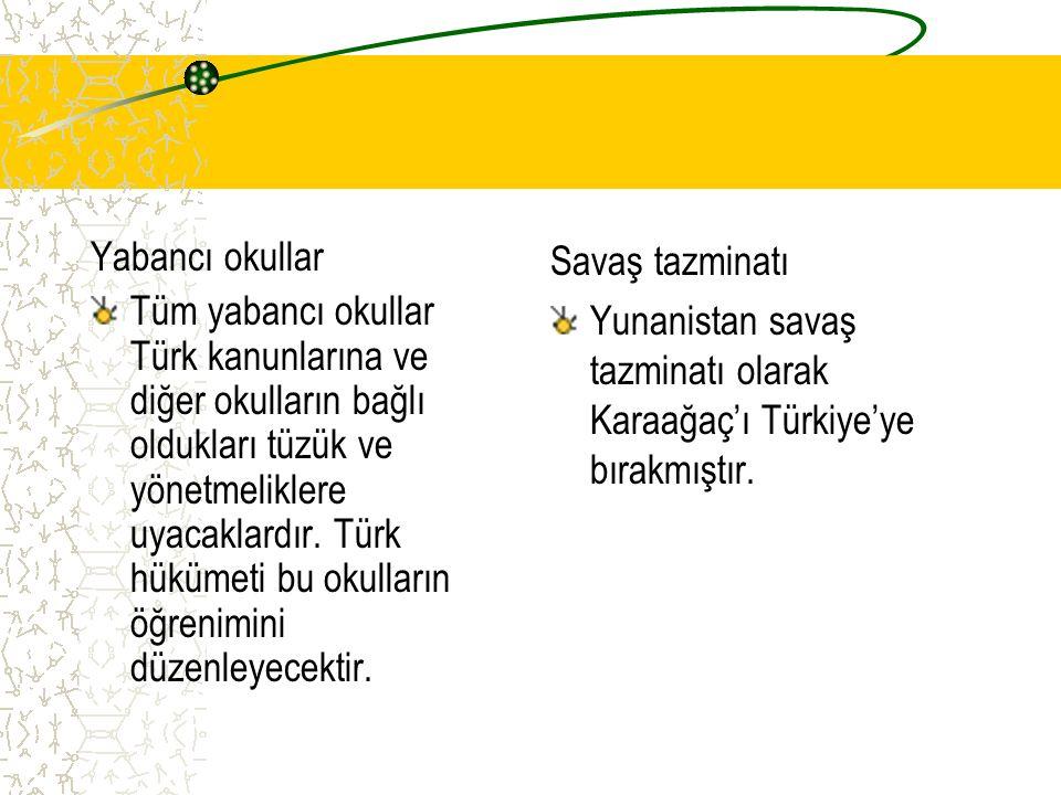 Yabancı okullar Tüm yabancı okullar Türk kanunlarına ve diğer okulların bağlı oldukları tüzük ve yönetmeliklere uyacaklardır. Türk hükümeti bu okullar