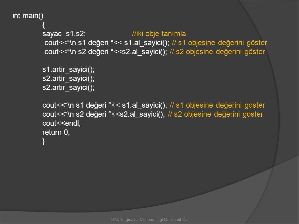 """SAÜ Bilgisayar Mühendisliği Dr. Cemil Öz int main() { sayac s1,s2;//iki obje tanımla cout<<""""\n s1 değeri """"<< s1.al_sayici(); // s1 objesine değerini g"""