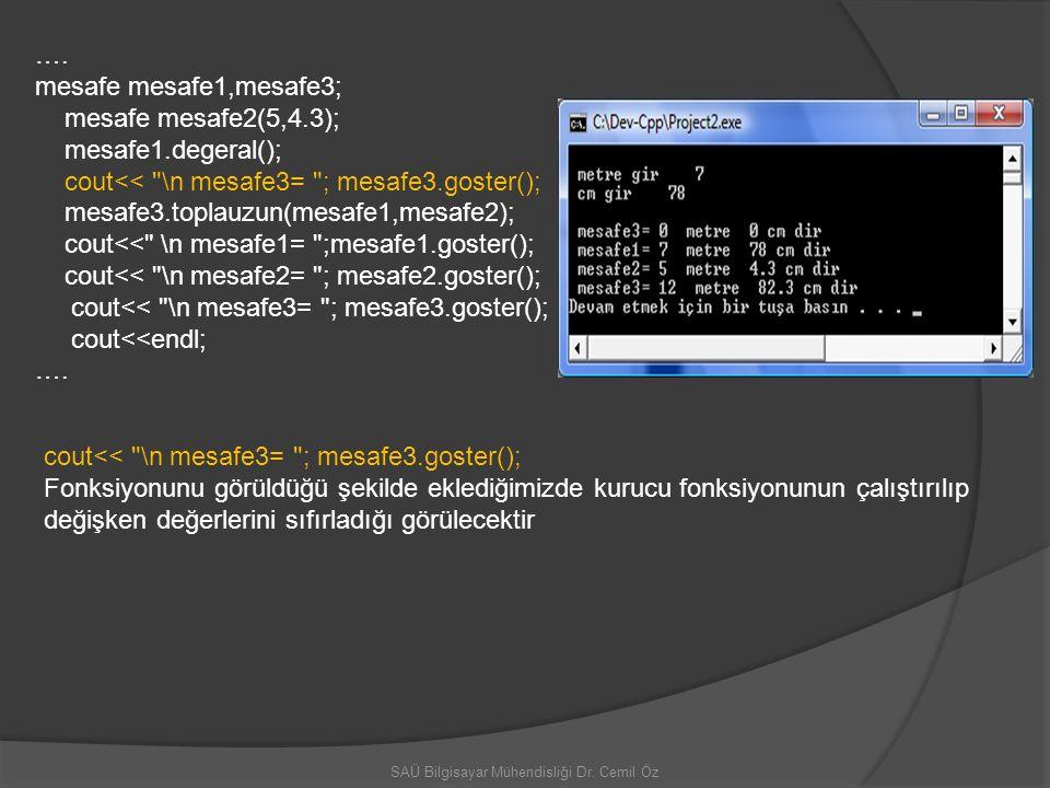 SAÜ Bilgisayar Mühendisliği Dr. Cemil Öz …. mesafe mesafe1,mesafe3; mesafe mesafe2(5,4.3); mesafe1.degeral(); cout<<