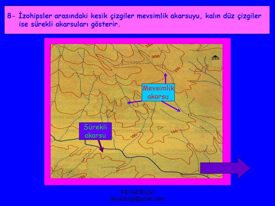 FEYAZ BİLGİ (feyazbilgi@gmail.com) 7- Çevresine göre çukur olan yerler içe doğru çizilen ok işareti ile gösterilir.