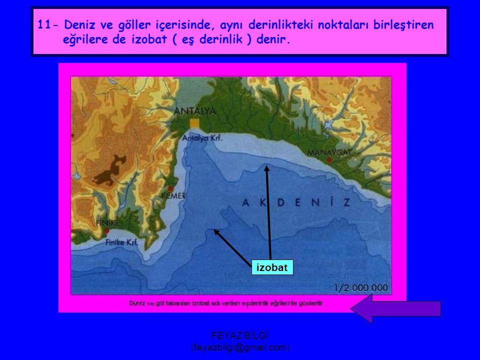 FEYAZ BİLGİ (feyazbilgi@gmail.com) 10- Bir haritada, izohipsler arasındaki yükselti farkı her yerde eşittir.