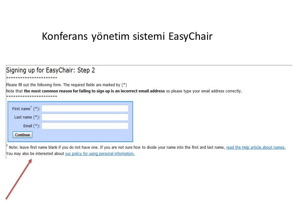 Konferans yönetim sistemi EasyChair