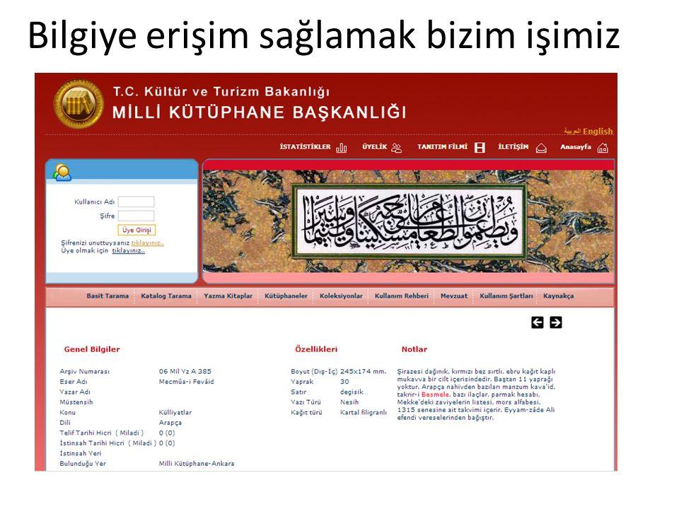 Bilgiye erişim sağlamak bizim işimiz Bilkent'te Kütüphanecilik Seminerleri, 17 Aralık 2013, Ankara