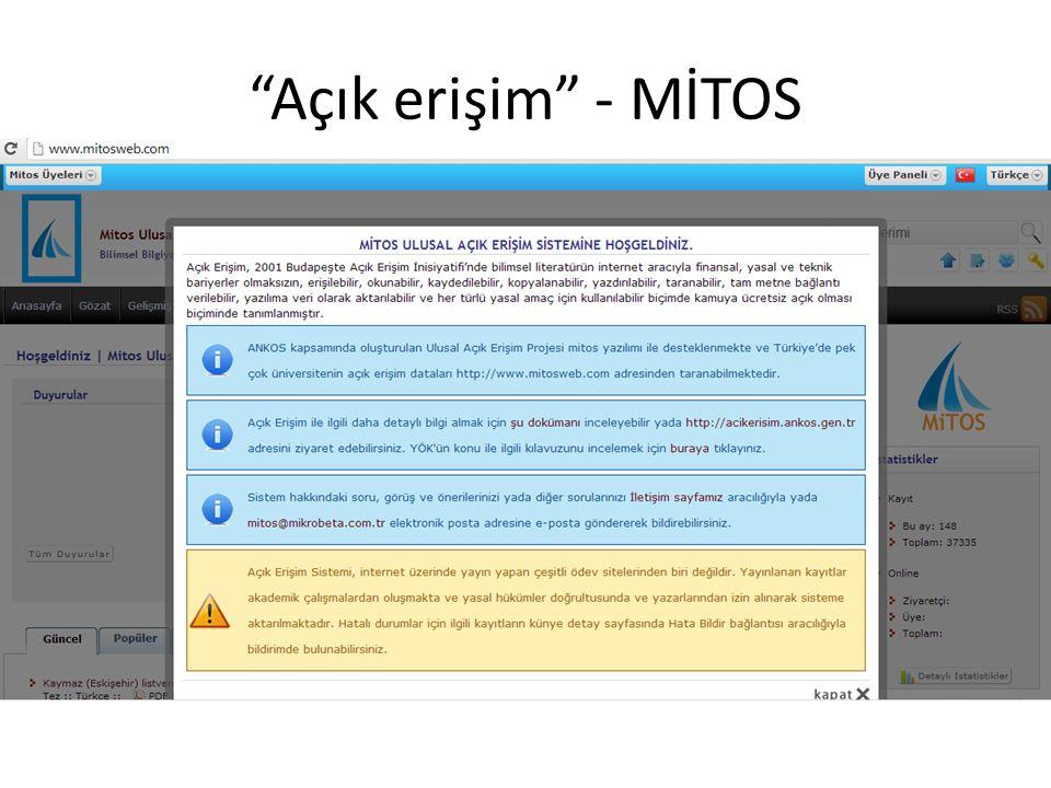 Açık erişim - MİTOS Bilkent'te Kütüphanecilik Seminerleri, 17 Aralık 2013, Ankara
