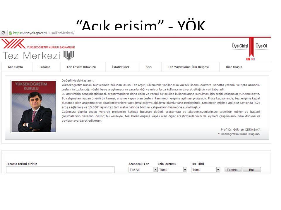 Açık erişim - YÖK Bilkent'te Kütüphanecilik Seminerleri, 17 Aralık 2013, Ankara
