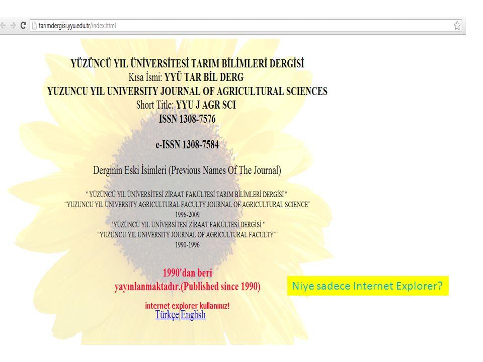 Niye sadece Internet Explorer?