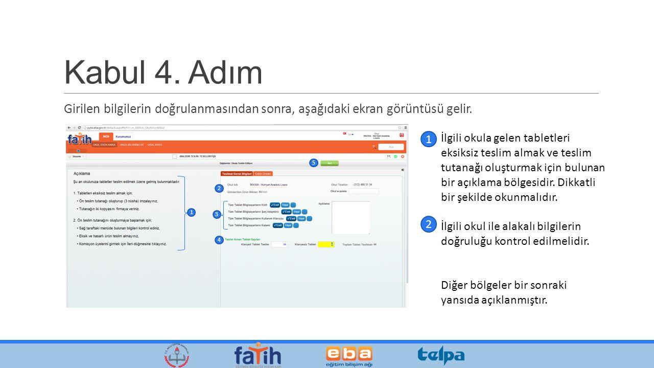 Kabul 4. Adım Girilen bilgilerin doğrulanmasından sonra, aşağıdaki ekran görüntüsü gelir.