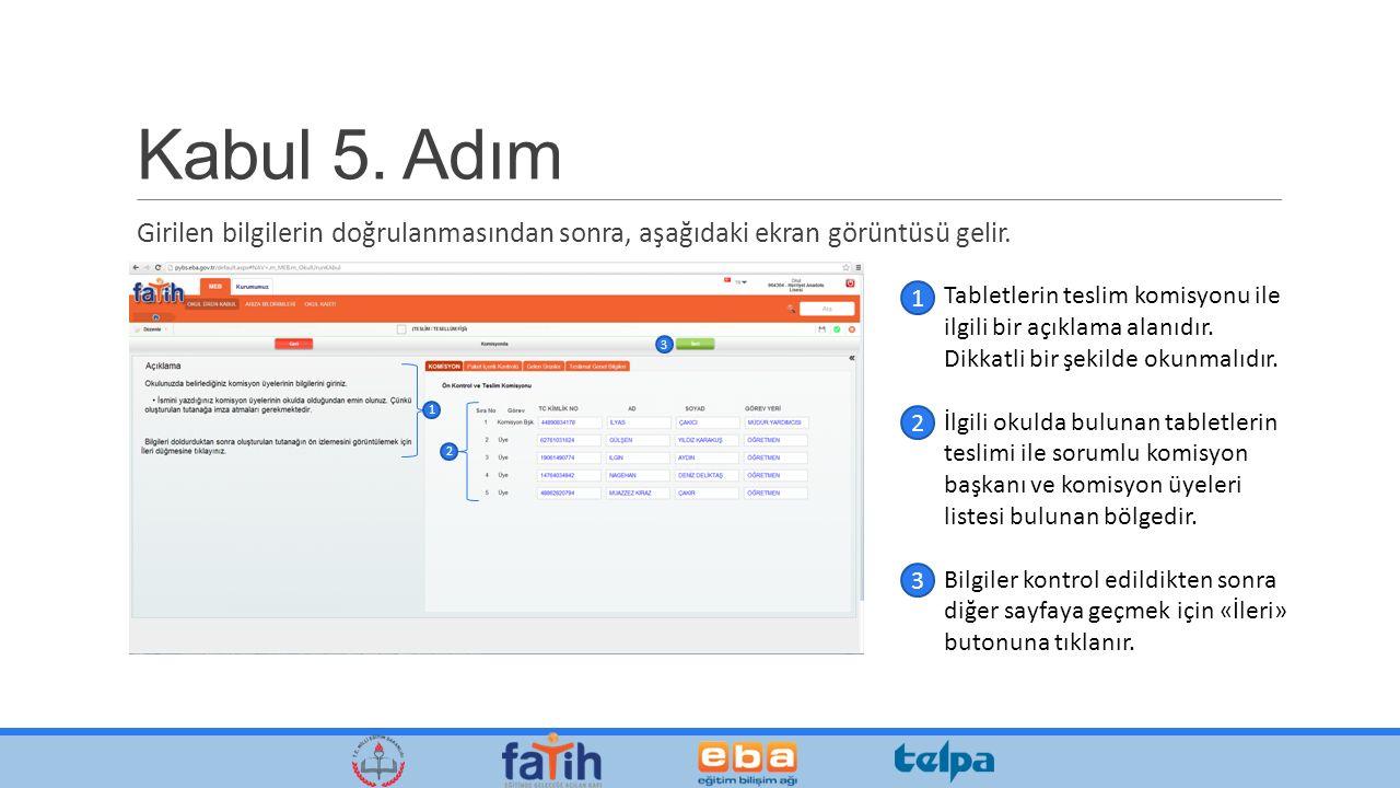Kabul 5. Adım Girilen bilgilerin doğrulanmasından sonra, aşağıdaki ekran görüntüsü gelir.
