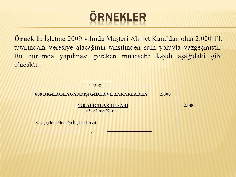 Örnek 1: İşletme 2009 yılında Müşteri Ahmet Kara'dan olan 2.000 TL tutarındaki veresiye alacağının tahsilinden sulh yoluyla vazgeçmiştir. Bu durumda y