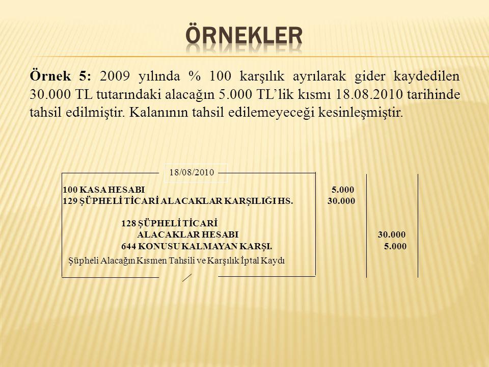 Örnek 5: 2009 yılında % 100 karşılık ayrılarak gider kaydedilen 30.000 TL tutarındaki alacağın 5.000 TL'lik kısmı 18.08.2010 tarihinde tahsil edilmişt