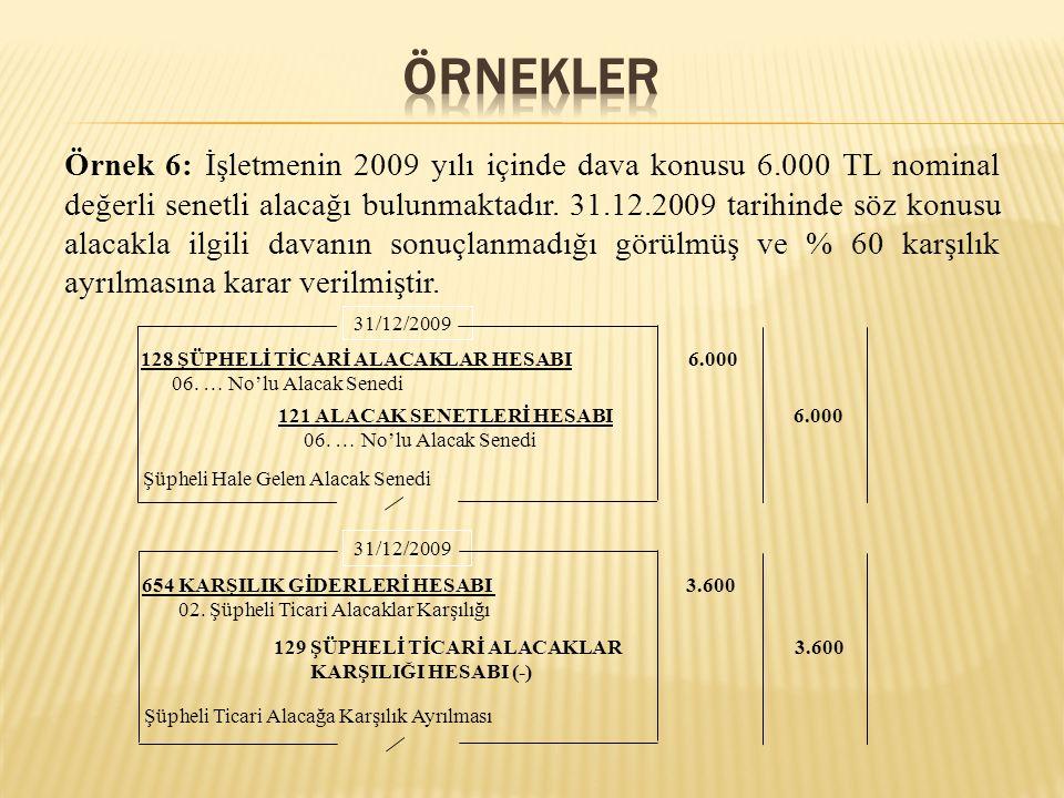 Örnek 6: İşletmenin 2009 yılı içinde dava konusu 6.000 TL nominal değerli senetli alacağı bulunmaktadır. 31.12.2009 tarihinde söz konusu alacakla ilgi