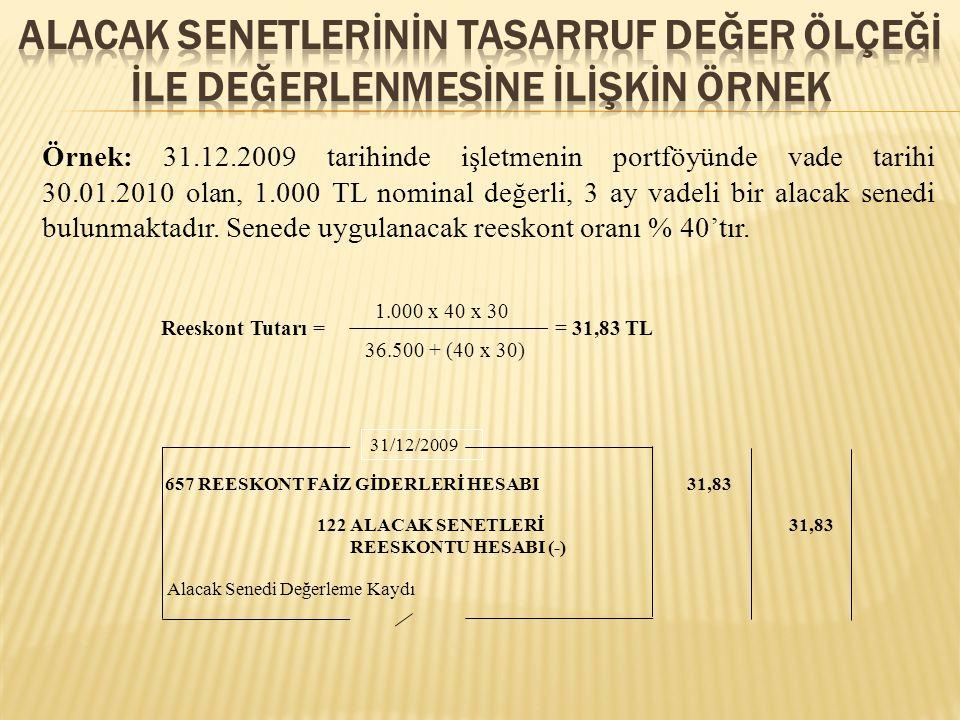 Örnek: 31.12.2009 tarihinde işletmenin portföyünde vade tarihi 30.01.2010 olan, 1.000 TL nominal değerli, 3 ay vadeli bir alacak senedi bulunmaktadır.