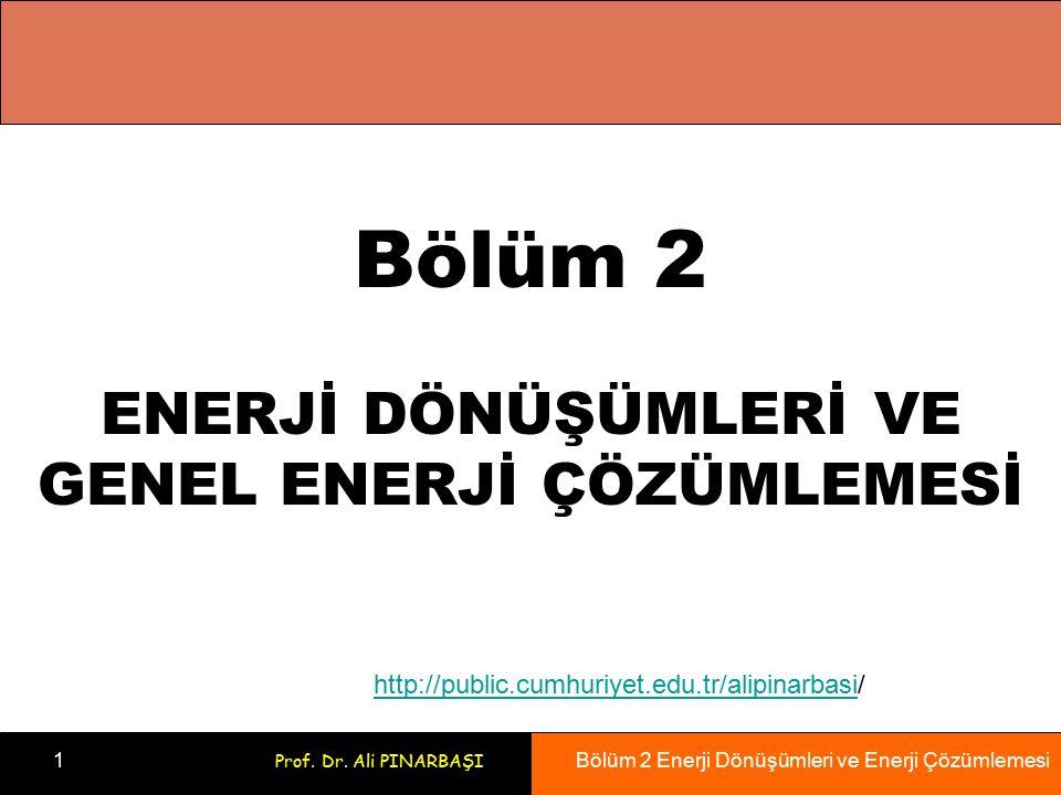 Bölüm 2 Enerji Dönüşümleri ve Enerji Çözümlemesi 1 Prof. Dr. Ali PINARBAŞI Bölüm 2 ENERJİ DÖNÜŞÜMLERİ VE GENEL ENERJİ ÇÖZÜMLEMESİ http://public.cumhur