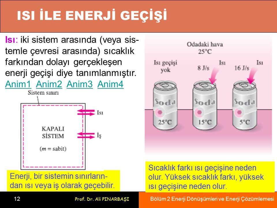 Bölüm 2 Enerji Dönüşümleri ve Enerji Çözümlemesi 12 Prof. Dr. Ali PINARBAŞI ISI İLE ENERJİ GEÇİŞİ Enerji, bir sistemin sınırların- dan ısı veya iş ola