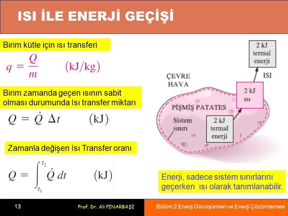 Bölüm 2 Enerji Dönüşümleri ve Enerji Çözümlemesi 13 Prof. Dr. Ali PINARBAŞI Enerji, sadece sistem sınırlarını geçerken ısı olarak tanımlanabilir. Biri