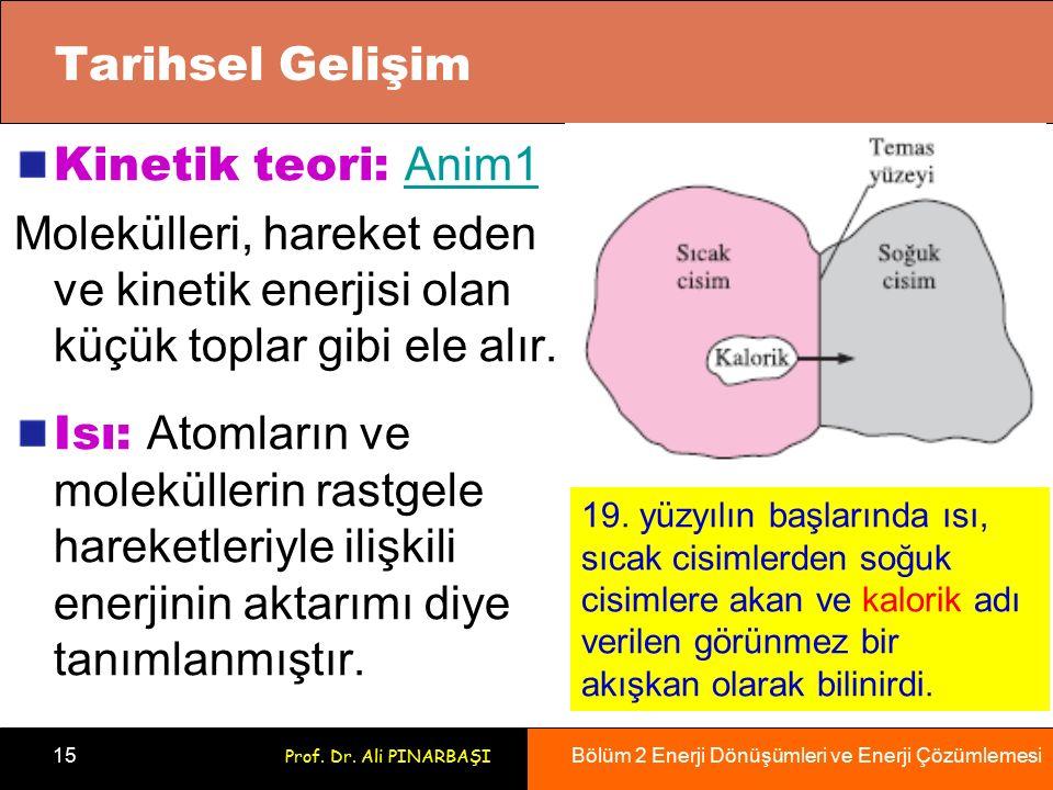 Bölüm 2 Enerji Dönüşümleri ve Enerji Çözümlemesi 15 Prof. Dr. Ali PINARBAŞI Tarihsel Gelişim Kinetik teori: Anim1 Anim1 Molekülleri, hareket eden ve k