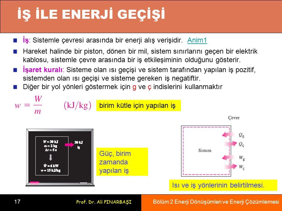 Bölüm 2 Enerji Dönüşümleri ve Enerji Çözümlemesi 17 Prof. Dr. Ali PINARBAŞI İŞ İLE ENERJİ GEÇİŞİ İş: Sistemle çevresi arasında bir enerji alış verişid
