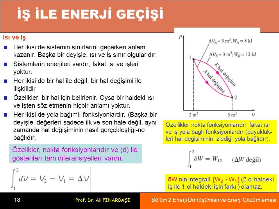 Bölüm 2 Enerji Dönüşümleri ve Enerji Çözümlemesi 18 Prof. Dr. Ali PINARBAŞI Isı ve iş Her ikisi de sistemin sınırlarını geçerken anlam kazanır. Başka