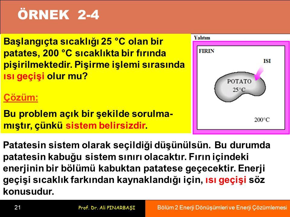 Bölüm 2 Enerji Dönüşümleri ve Enerji Çözümlemesi 21 Prof. Dr. Ali PINARBAŞI Başlangıçta sıcaklığı 25 °C olan bir patates, 200 °C sıcaklıkta bir fırınd