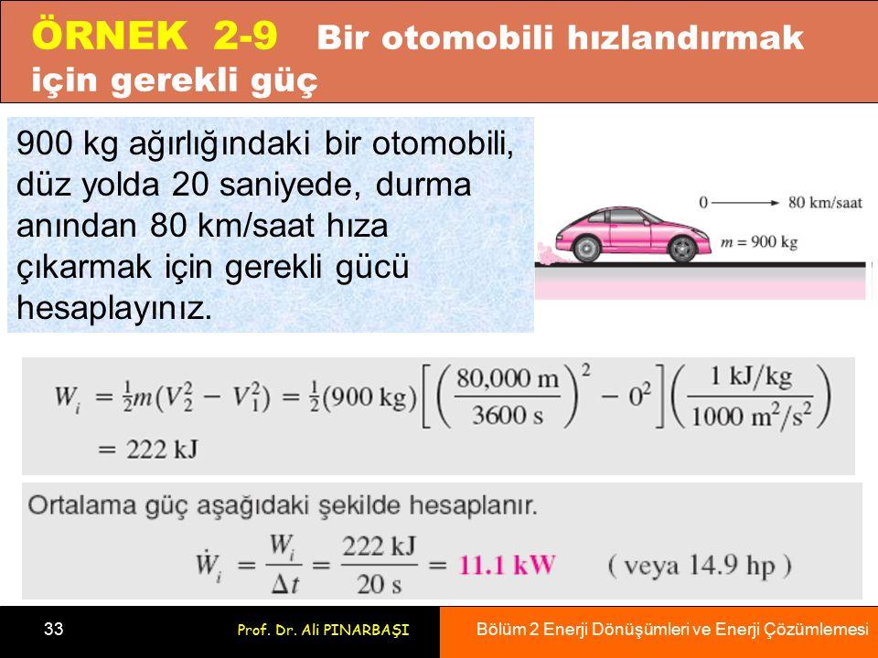 Bölüm 2 Enerji Dönüşümleri ve Enerji Çözümlemesi 33 Prof. Dr. Ali PINARBAŞI ÖRNEK 2-9 Bir otomobili hızlandırmak için gerekli güç 900 kg ağırlığındaki