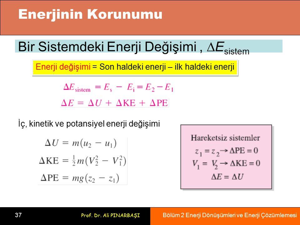 Bölüm 2 Enerji Dönüşümleri ve Enerji Çözümlemesi 37 Prof. Dr. Ali PINARBAŞI Bir Sistemdeki Enerji Değişimi,  E sistem İç, kinetik ve potansiyel enerj