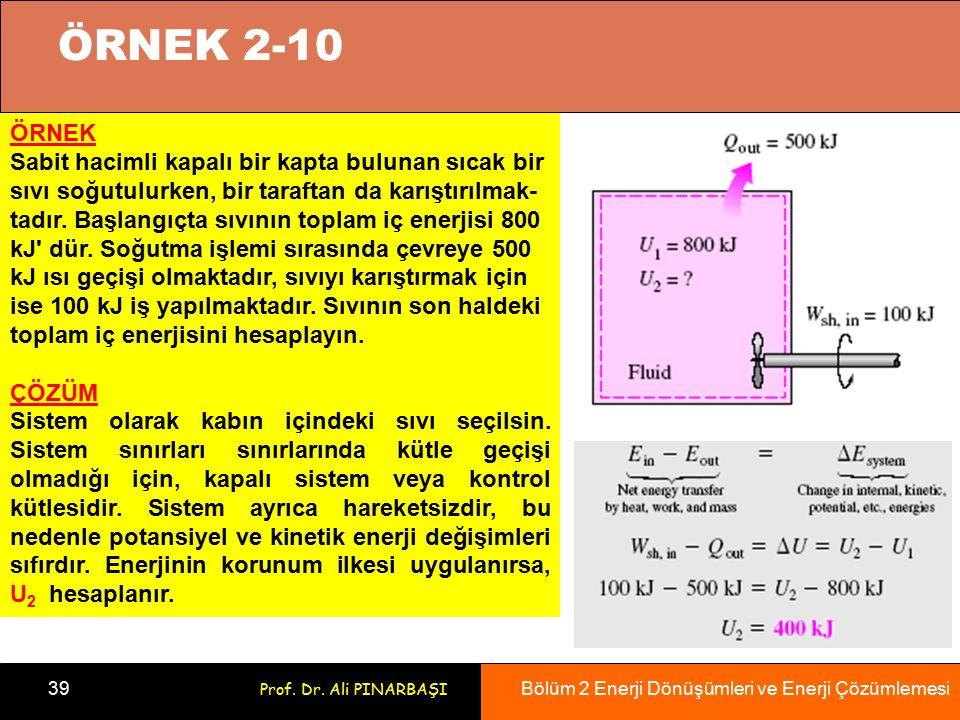 Bölüm 2 Enerji Dönüşümleri ve Enerji Çözümlemesi 39 Prof. Dr. Ali PINARBAŞI ÖRNEK Sabit hacimli kapalı bir kapta bulunan sıcak bir sıvı soğutulurken,