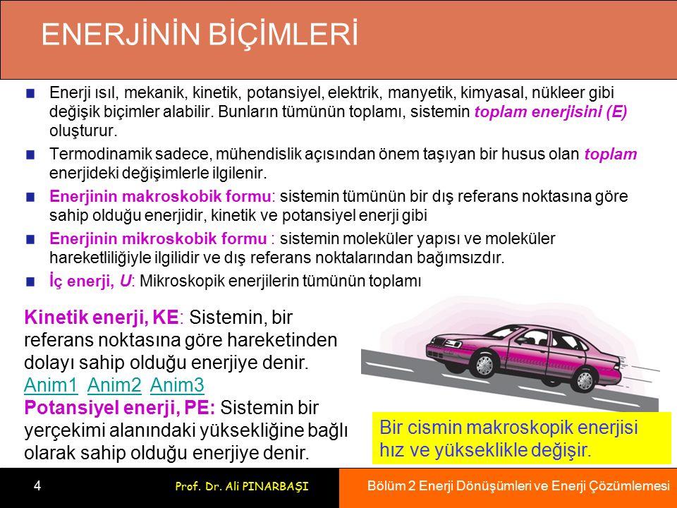 Bölüm 2 Enerji Dönüşümleri ve Enerji Çözümlemesi 4 Prof. Dr. Ali PINARBAŞI ENERJİNİN BİÇİMLERİ Enerji ısıl, mekanik, kinetik, potansiyel, elektrik, ma