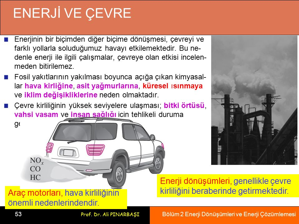 Bölüm 2 Enerji Dönüşümleri ve Enerji Çözümlemesi 53 Prof. Dr. Ali PINARBAŞI ENERJİ VE ÇEVRE Araç motorları, hava kirliliğinin önemli nedenlerindendir.