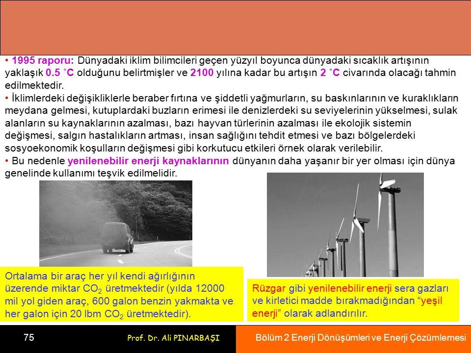 Bölüm 2 Enerji Dönüşümleri ve Enerji Çözümlemesi 75 Prof. Dr. Ali PINARBAŞI 1995 raporu: Dünyadaki iklim bilimcileri geçen yüzyıl boyunca dünyadaki sı