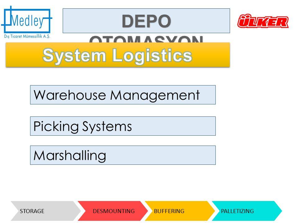 Warehouse Management Picking Systems Marshalling STORAGE DESMOUNTINGBUFFERINGPALLETIZING