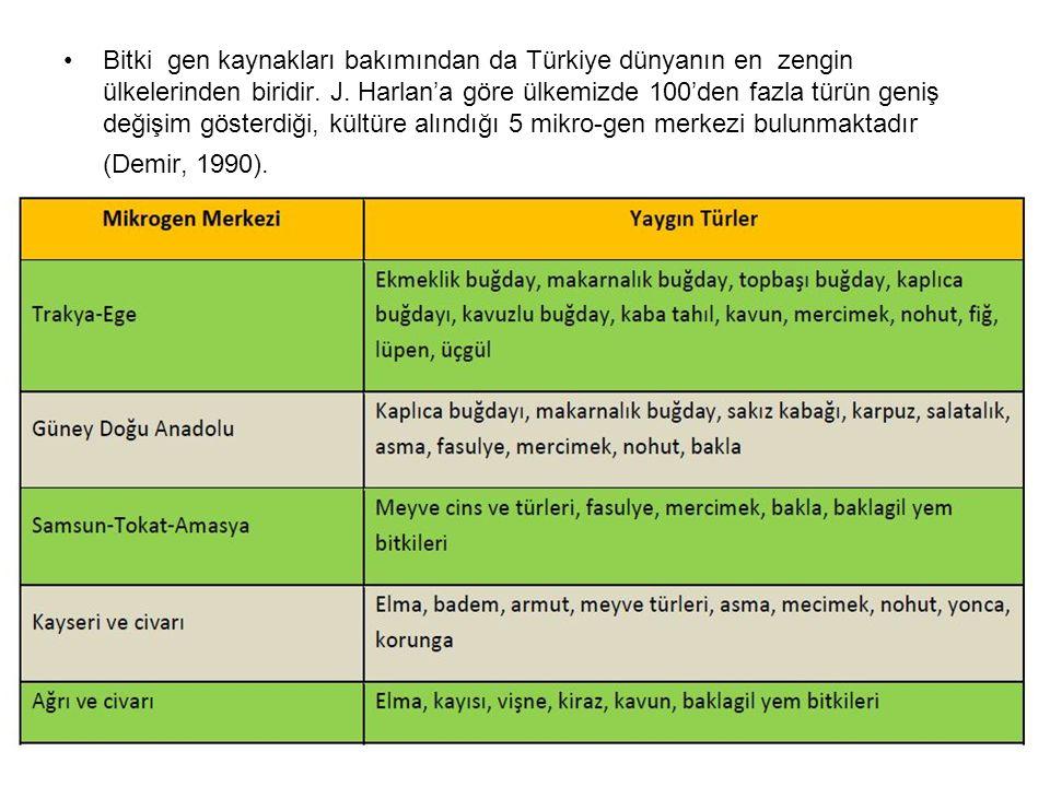 Bitki gen kaynakları bakımından da Türkiye dünyanın en zengin ülkelerinden biridir. J. Harlan'a göre ülkemizde 100'den fazla türün geniş değişim göste