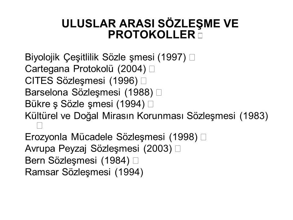 ULUSLAR ARASI SÖZLEŞME VE PROTOKOLLER ƒ Biyolojik Çeşitlilik Sözle şmesi (1997) ƒ Cartegana Protokolü (2004) ƒ CITES Sözleşmesi (1996) ƒ Barselona Söz