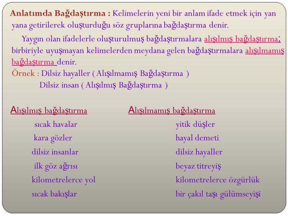 Anlatımda Ba ğ lam : Kelime, kelime gruplarının ya da cümlelerin metinde bulundu ğ u yere ba ğ lı olarak farklı anlamlar kazanmasına ba ğ lam denir.