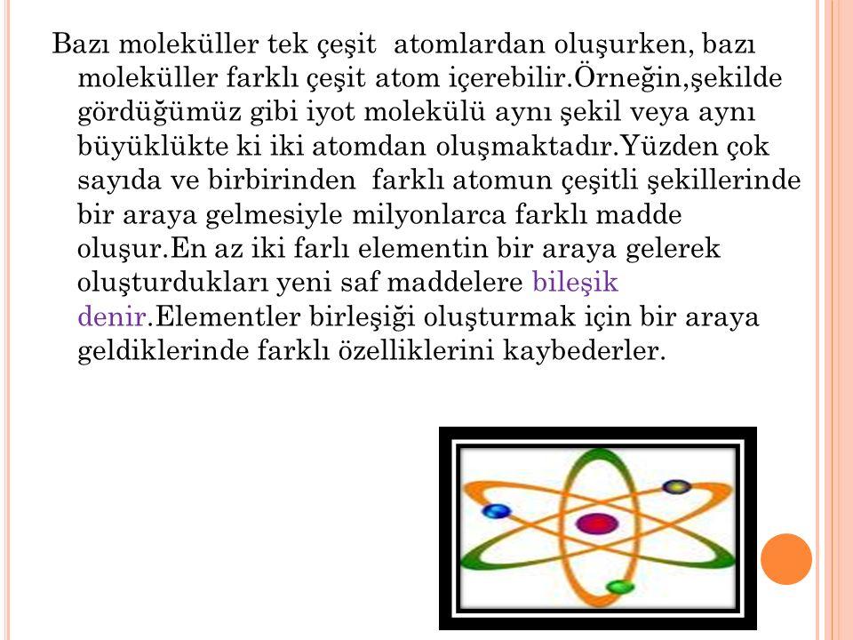 Bazı moleküller tek çeşit atomlardan oluşurken, bazı moleküller farklı çeşit atom içerebilir.Örneğin,şekilde gördüğümüz gibi iyot molekülü aynı şekil