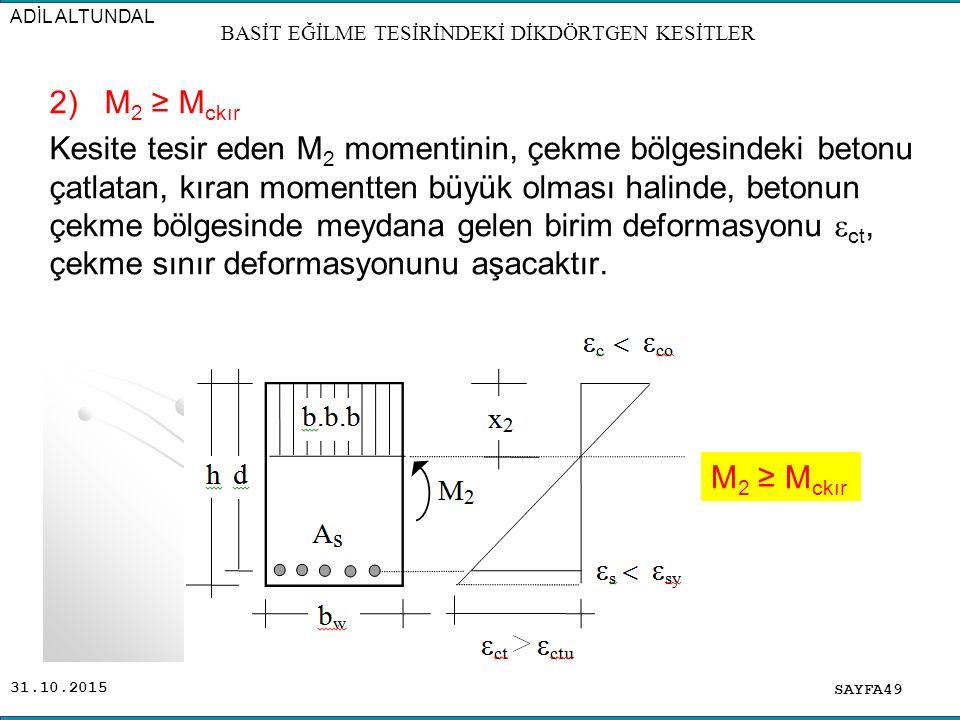 31.10.2015 2) M 2 ≥ M ckır Kesite tesir eden M 2 momentinin, çekme bölgesindeki betonu çatlatan, kıran momentten büyük olması halinde, betonun çekme b