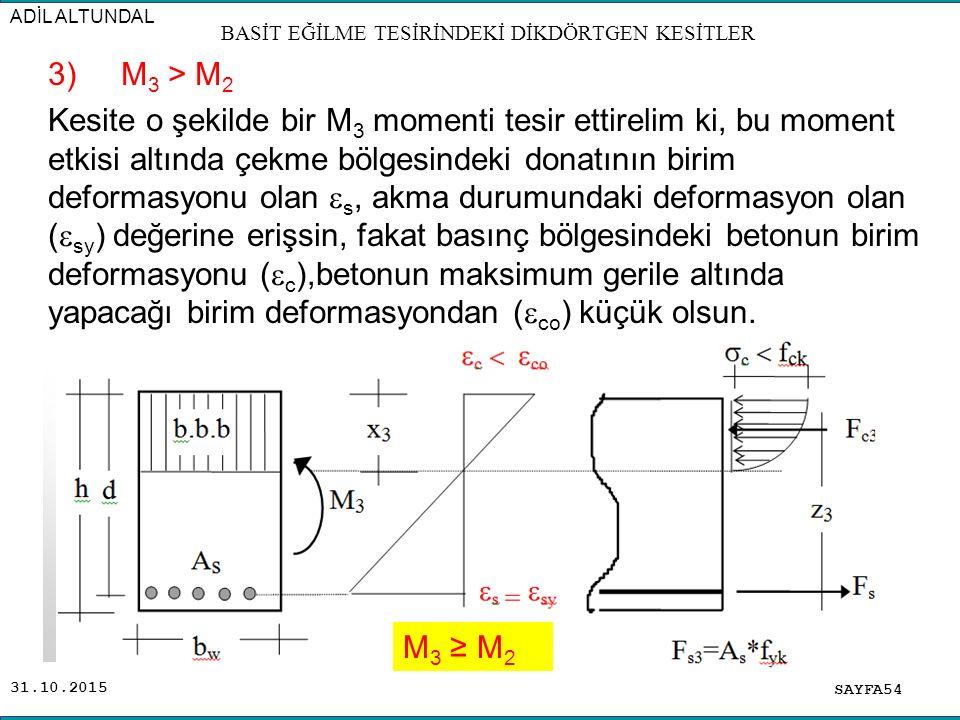 31.10.2015 3) M 3 > M 2 Kesite o şekilde bir M 3 momenti tesir ettirelim ki, bu moment etkisi altında çekme bölgesindeki donatının birim deformasyonu