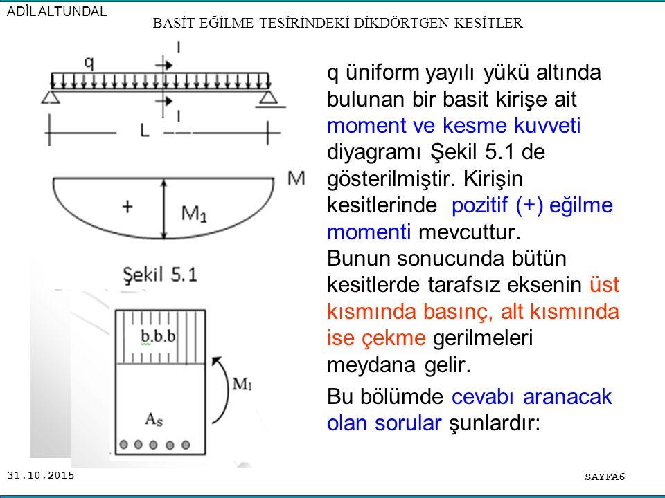 31.10.2015 q üniform yayılı yükü altında bulunan bir basit kirişe ait moment ve kesme kuvveti diyagramı Şekil 5.1 de gösterilmiştir. Kirişin kesitleri