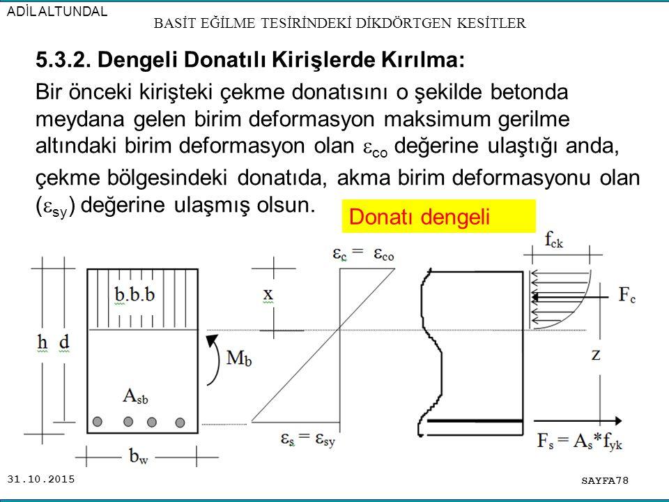 31.10.2015 5.3.2. Dengeli Donatılı Kirişlerde Kırılma: Bir önceki kirişteki çekme donatısını o şekilde betonda meydana gelen birim deformasyon maksimu