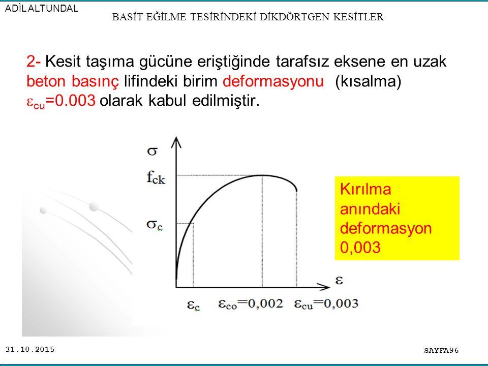 31.10.2015 2- Kesit taşıma gücüne eriştiğinde tarafsız eksene en uzak beton basınç lifindeki birim deformasyonu (kısalma)  cu =0.003 olarak kabul edi