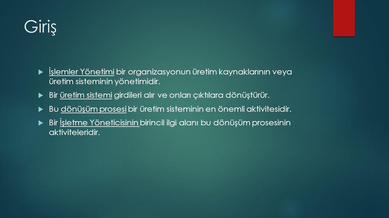  İşlemler Yönetimi bir organizasyonun üretim kaynaklarının veya üretim sisteminin yönetimidir.
