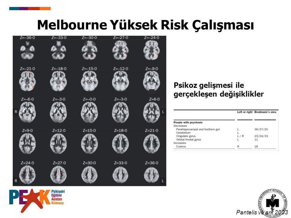 Melbourne Yüksek Risk Çalışması Pantelis ve ark 2003 Psikoz gelişmesi ile gerçekleşen değişiklikler