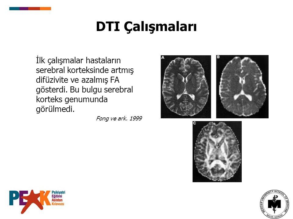 DTI Çalışmaları İlk çalışmalar hastaların serebral korteksinde artmış difüzivite ve azalmış FA gösterdi. Bu bulgu serebral korteks genumunda görülmedi
