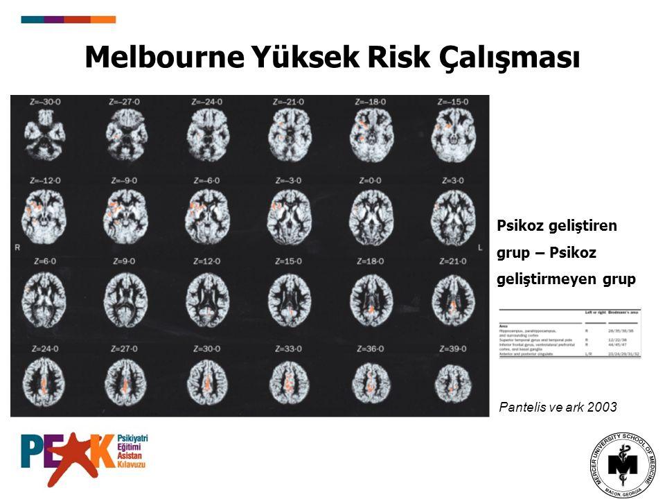 Melbourne Yüksek Risk Çalışması Psikoz geliştiren grup – Psikoz geliştirmeyen grup Pantelis ve ark 2003