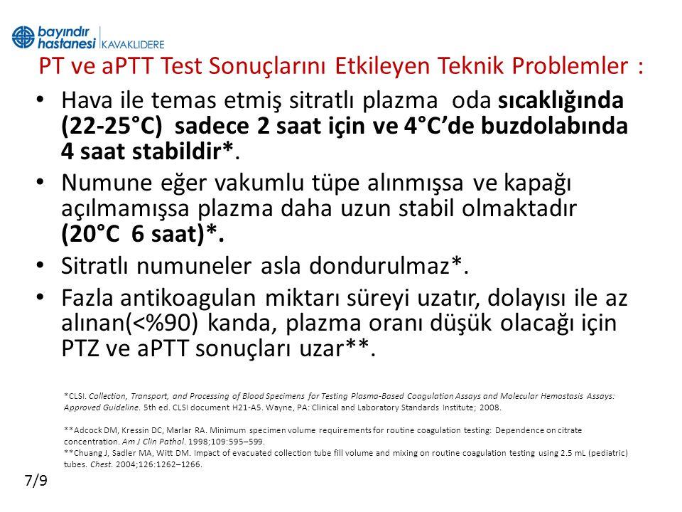 PT ve aPTT Test Sonuçlarını Etkileyen Teknik Problemler : Hava ile temas etmiş sitratlı plazma oda sıcaklığında (22-25°C) sadece 2 saat için ve 4°C'de