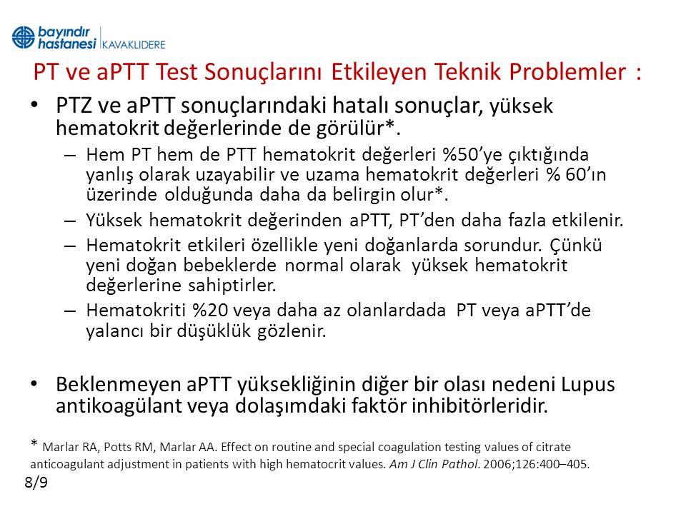 PT ve aPTT Test Sonuçlarını Etkileyen Teknik Problemler : PTZ ve aPTT sonuçlarındaki hatalı sonuçlar, yüksek hematokrit değerlerinde de görülür*. – He