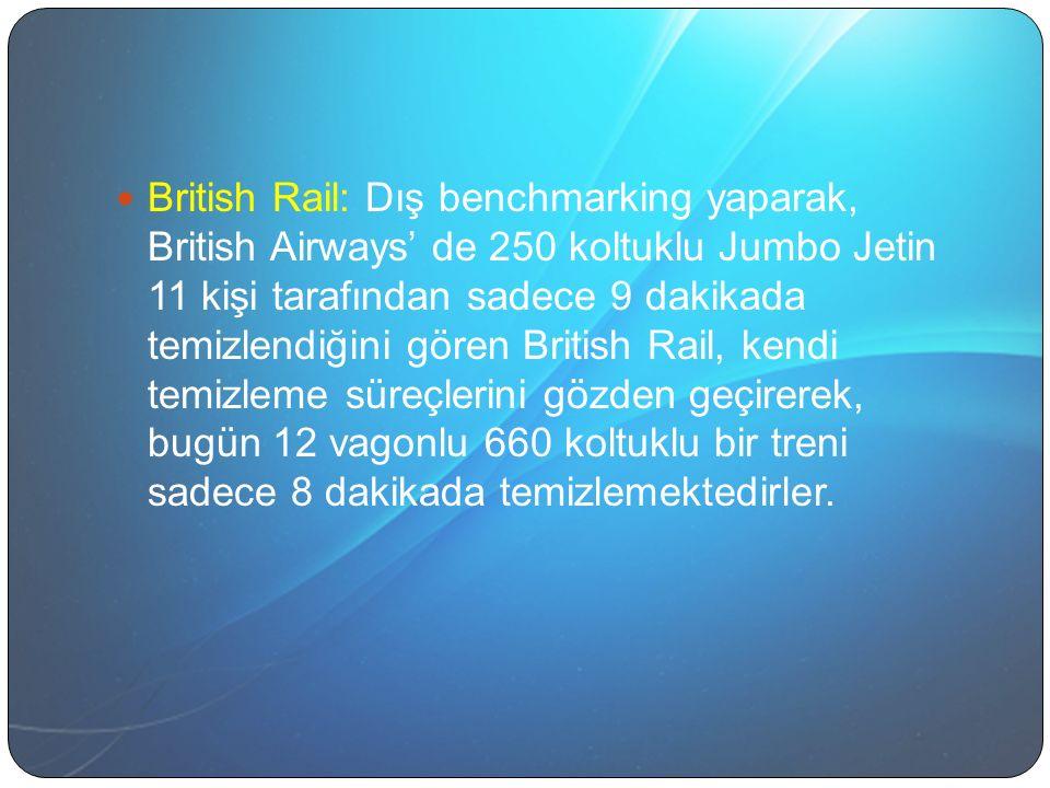 British Rail: Dış benchmarking yaparak, British Airways' de 250 koltuklu Jumbo Jetin 11 kişi tarafından sadece 9 dakikada temizlendiğini gören British Rail, kendi temizleme süreçlerini gözden geçirerek, bugün 12 vagonlu 660 koltuklu bir treni sadece 8 dakikada temizlemektedirler.